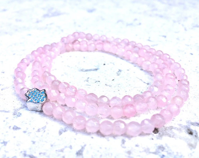 Rose Quartz Bracelet-  Pink Gemstone Bracelet- Triple Wrap Stone Bracelet- Fourth Chakra Energy Gemstone-  The Love and Heart Stone