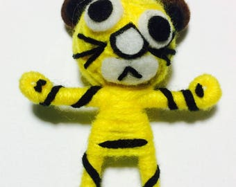 Yellow Tiger Voodoo String Doll Cartoon Keychain Key Ring Keyfob Ornament Thai Handmade