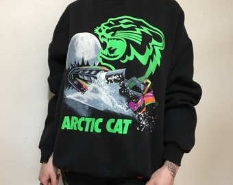 Vintage Arctic Cat Crewneck Sweatshirt - XL - Vintage Clothing - 90s Clothing - Snowmobile - Sled - Cold Weather Clothing - Lee -
