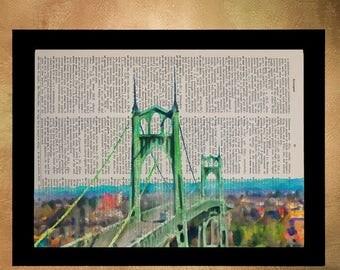 SALE-SHIPS Aug 22- Portland Dictionary Art Print St Johns Bridge Oregon Wall Art Vintage Paper Fine Art Print Gift Ideas Home Decor da1133