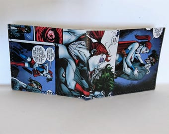comic book wallet, slim wallet, hanmade wallet, card holder, thin wallet, vinyl wallet, mens wallet, joker 9