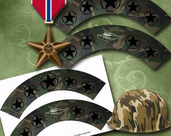 Army Cupcake Wrappers Instant Download Printable Cupcake Wrappers