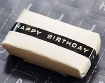 "25 m of washi tape ""Happy birthday"" / masking tape birthday black and white"