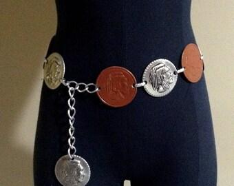 Vintage Leather and Silver Aluminum Indian Head Link Belt / Native American Embossed Chain Link Belt / Retro Link Belt