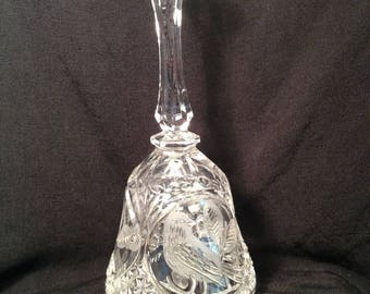 Hofbauer Byrdes Crystal Bell, Made in Germany, Hand Cut, Frosted and Polished Collectible Bell, Birds and Leaves Pattern, Sawtooth Edge.