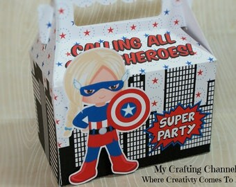 LG Captain American Girl Sets-Captain American-Birthday Treat Boxes-Superhero