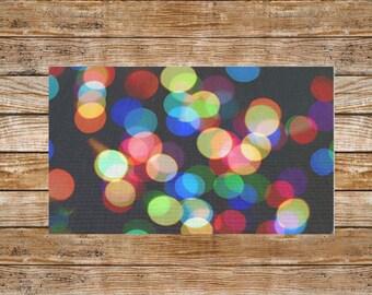 Rainbow Rug-Area Rug-Dobby Rug-Throw Rug-Circles-Lights-Bokeh-Home Decor-Colorful Decor-Printed Rug-Bedroom Floor Rug-Rectangular Rug-2x3