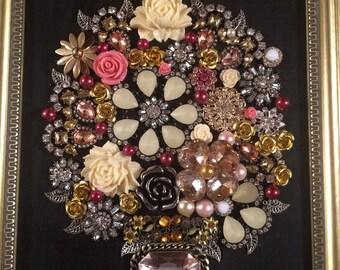 Framed Jewelry Art -  Pink/Yellow Flower Bouquet