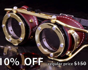 Steampunk Goggles Victorian Goth Brass Brown LARP Cosplay