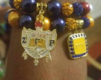 Sigma Gamma Rho Inspired beaded charm bracelets (SGRho set of 2)  Please request your organization in note to seller