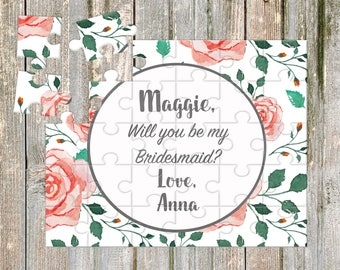 Will You Be My Bridesmaid Puzzle, Custom Puzzle, Boho Bridesmaid Proposal, proposal ideas, Floral Bridesmaid Proposal Gift Puzzle,