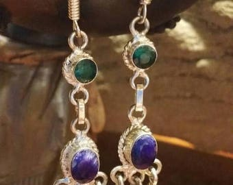 Holiday SALE 85 % OFF Sapphire Ruby Emerald   Earrings  Gemstone  .925 Sterling  Silver