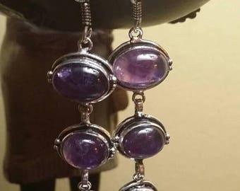 Holiday SALE 85 % OFF Amethyst Earrings .925 Sterling Silver Gemstone