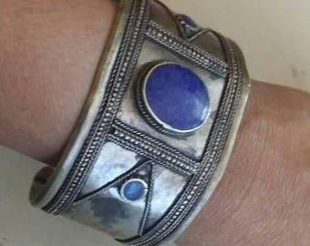 Holiday SALE 85 % OFF Lapis lazuli  Bangle Cuff Gemstone 925 Sterling Silver