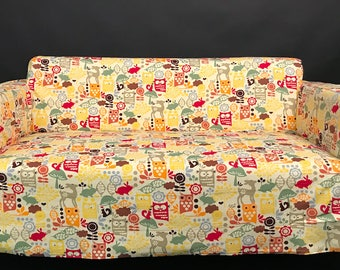 Slip cover for the Ikea Solsta sofa bed in Enchanted Forrest print cotton fabric