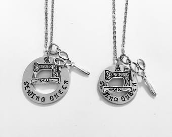 Sewing queen necklace, sewing machine, love to sew, seamstress, gifts for sewing, handstamped gifts, personalized, Christmas presents