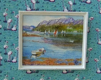 Original dollhouse painting. Miniature watercolour. 1/12 scale. LOCH CARRON. Artist Pauline Whiteley. Dolls house art. Miniature art.