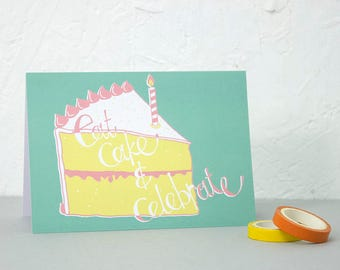 Birthday card, Eat Cake and Celebrate, Childrens Birthday Card, 1st Birthday, Happy Birthday Card