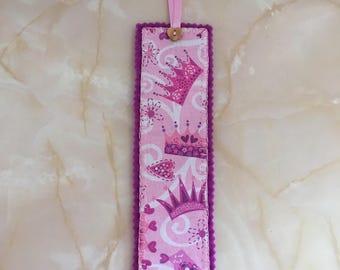 Crown fabric bookmark, bookmark, crown bookmark,  stocking filler,