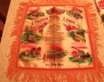 """Vintage 1940's U.S. Army Fort Lewis Washington """"Sweetheart"""" Poem Satin Pillow Cover - FREE SHIPPING"""