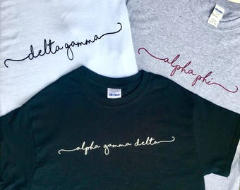Round Neck Officially Licensed Handwriting Script Sorority T Shirt - Alpha Phi - Delta Gamma - Alpha Gamma Delta