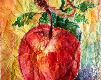 Watecolor Painting, Original Painting, Watercolor Art, Red Apple painting