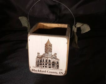Blackford County, Indiana Small Country Wooden Candle Basket