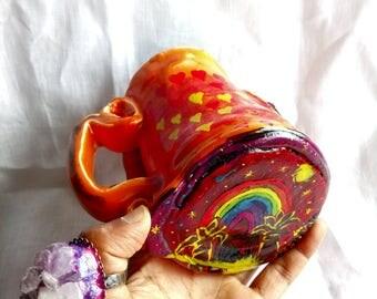 Love Rising mug with Amethyst Crystal, Meditation, Fantasy, healing,peaceful,enchanting, personalised mug, peace, personalised gift.