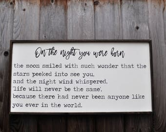 On the night you were born, nursery, wood sign