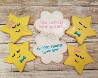 12 Twinkle Twinkle Baby Shower Sugar Cookies - Twinkle Little Star Baby Shower - Gender Reveal Sugar Cookies - Gender Reveal Favors
