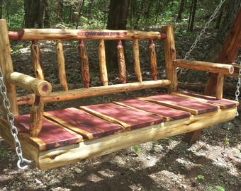 Personalized 4' Rustic Cedar Log Spindle Back Porch Swing - Rustic Porch Swing - Wood Porch Swing - Poverty Gulch - Rustic Wedding Gift