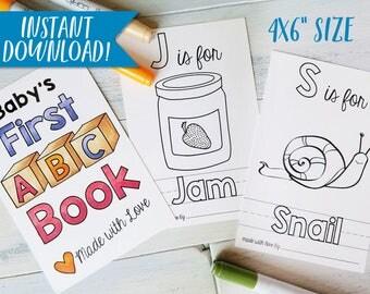 abc book custom coloring books baby shower activity diy baby shower nursery