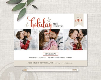 Holiday Mini Session Template - Holiday Marketing Board, Holiday Marketing, Christmas Mini Session Template, Christmas Marketing Board