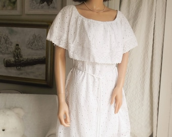 New White cotton lace dress White lace Summer dress White lace Prairie dress Boho Wedding dress White lace off the shoulder dress UK 16-18
