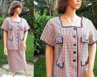 Vintage 80s red white and blue check skirt suit Plaid cotton skirt and jacket set Navy blue and white check 2 piece UK16 Excellent condition