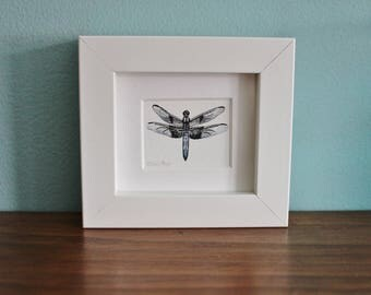 Dragonfly Watercolour Painting - Insect - Framed Dragon Fly Giclee print - Nature Art Poster - Picture and gift for the home - Mini Frame