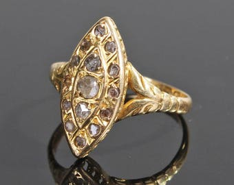 An 18ct Rose Cut Diamond Ring, Navette, Rose Cuts, Victorian, Gold