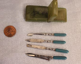 Vintage Ballerina Pocket Case with Tools Small Scissors, Scoop, Nail File, Cuticle Pusher