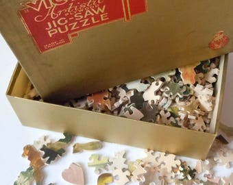 Wooden Jigsaw Puzzle / Unknown Image / Vintage Charm / Authentic No-Image Artistic Puzzle / Original Box