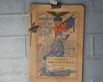 Soldiers and Sailors Memorial Opening / 1910 / Vintage Tasseled Program / Great American Graphics