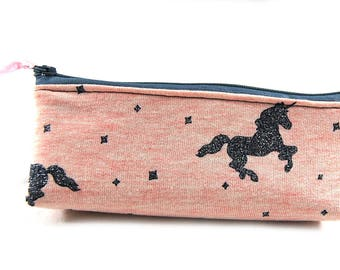 "School Kit ""pink background silver unicorn"""
