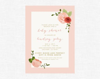 Baby Shower Invitation   Every Good and Perfect Gift is from Above   Rose   Floral   Brunch   Scripture -FREE SHIPPING or DIY printable