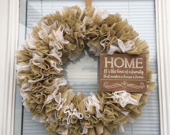 Beige Door Hanger Shelf Liner Wreath Spring Wreath Country Decor Neutral Colors All Season Wreath  Rustic Ruffle Wreath House Warming Gift