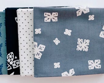 Fat Quarter Bundle - Cotton and Steel Fabric - Cotton Fabric - Quilting and sewing fabric - Modern Fabric - 4 Fat quarters