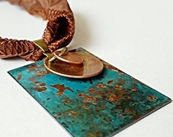 XMASINJULY Patina Necklace, Copper pendant, verdigras jewelry, verdigris patina, mixed metal necklace, gypsy necklace, blue pendant, rustic