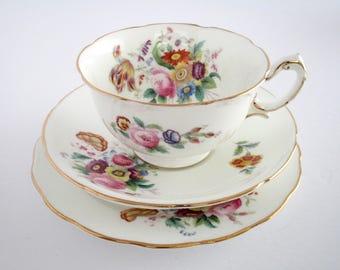 Set of 2, Coalport England Junetime Bone China Tea Cup and Saucer, Side plate Set, Discontinued Tableware