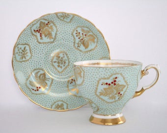 Tuscan England Fine Bone China Footed Tea Cup and Saucer Set