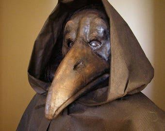 Crow mask Plague doctor mask Masquerade mask Paper mache mask Bird mask Bird costume Halloween mask Wall decor Papier mache mask