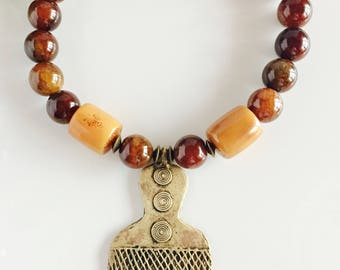Africa Inspired Genuine Brown Agate and Brass Pendant Statement Necklace