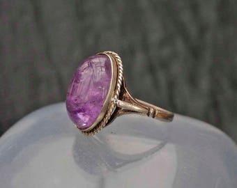 Vintage Silver Amethyst Ring Size Q (8)